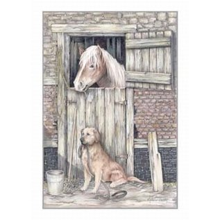 Creatief Art Pakket 6x SWR2-0126 paard in stal met hond