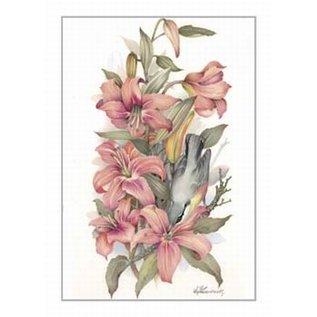 Creatief Art Pakket 6x SWR2-0128 bloemen met vogel