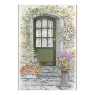 Creatief Art Pakket 6x SWR2-0158  groene deur met bloemen