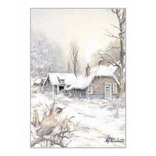 Creatief Art Pakket 6x SWR2-5003 winterlandschap met vogel