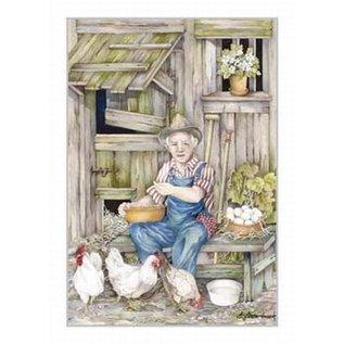 Creatief Art Pakket 6x SWR2-5008  boer met kippen