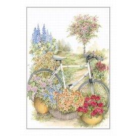 Creatief Art Pakket 6x SWR2-5032  fiets bij bloemen
