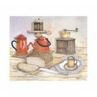 Creatief Art Pakket 6x SWR6-0011 keukenmotief met koffiekan