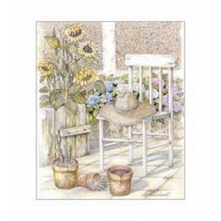 Creatief Art Pakket 6x SWR6-0014 hoed op stoel zonnebloemen