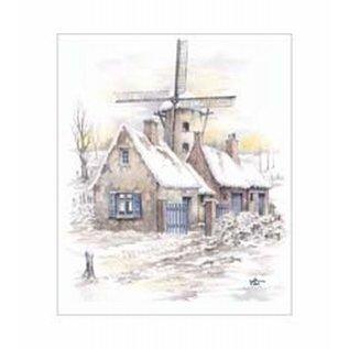 Creatief Art Pakket 6x SWR6-0025 windmolen in winterlandschap