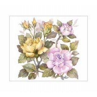 Creatief Art Pakket 6x SWR6-0048 geel en roze rozen