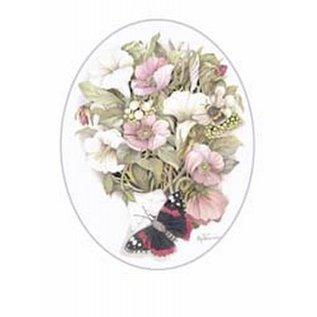 Creatief Art Pakket 6x SWR9-13  bloemen met vlinder ovaal