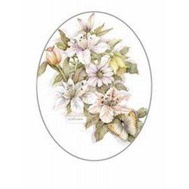 Creatief Art Pakket 6x SWR9-14  bloemen met vlinder 2 ovaal