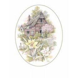 Creatief Art Pakket 6x SWR9-15  24/30  huis met bloemen ovaal