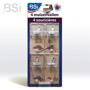 BSI Muizenvallen hout - 4 stuks