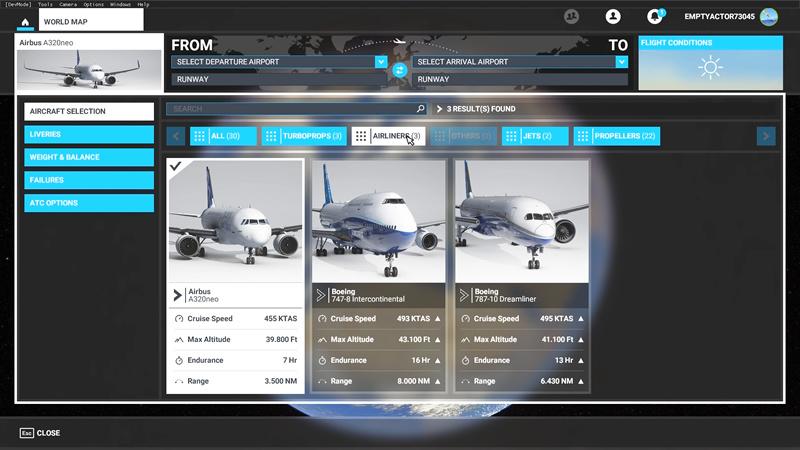 MSFS Premium Deluxe - Airliner selectie