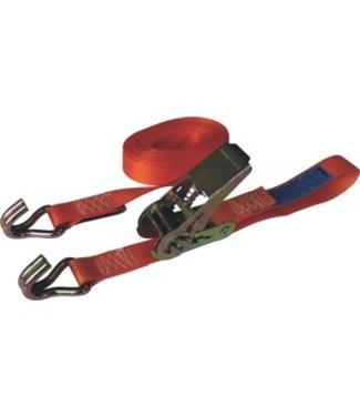 Spanband 7 meter met ratel en haak oranje