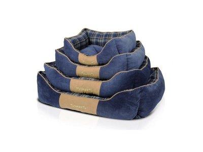 Stevige Hondenmand van Hoogwaardige Chenille stof met anti-slip onderzijde - Scruffs Higland - Blauw of Rood in S/M/L/XL