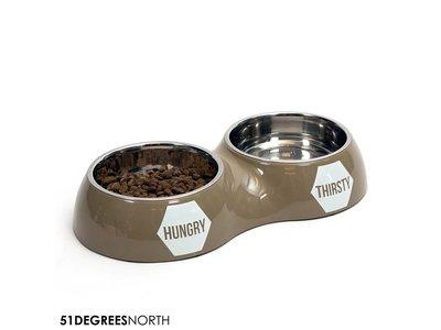 Dubbele voerbak voor Honden - 51 Degrees North - Zwart, Wit & Taupe in Maat S/M/L