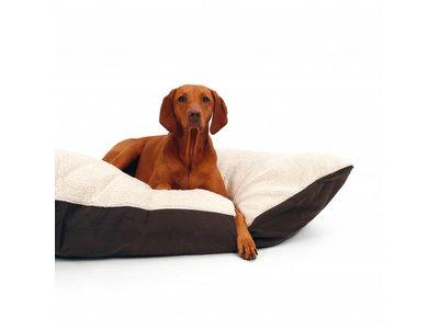 Zacht Hondenkussen met Afneembare Hoes in Grijs en Beige