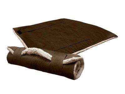 Reisdeken - Opvouwbaar voor in de Auto & op Reis - 51 Degrees North - Beige/Bruin en Grijs/Zwart 100x70cm