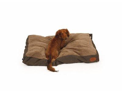 Extra zacht en stijlvol Box Hondenkussen Herringbone - 51 Degrees North - in Bruin/Zwart 100x70cm