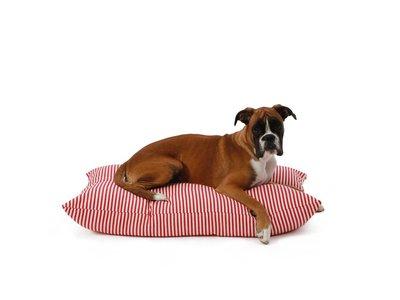 Rood Gestreept Hondenkussen van Katoen in 2 Maten
