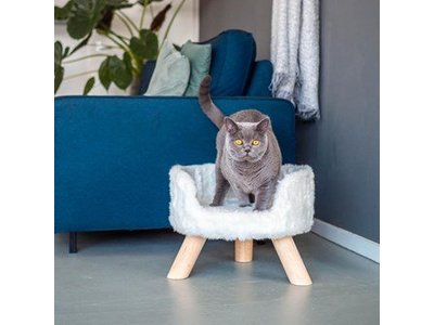 District 70  NORDIC - Luxe Kattenmand op Pootjes -  40x30x25cm in Silver, Mocca of Merengue