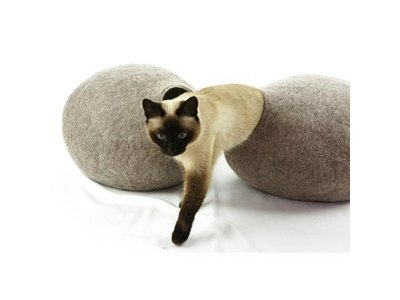 Kattenhuis Vilt van Merino Wol Handgemaakt - Kivikis - Wit, Grijs of Bruin voor katten van 4 tot 8 kg