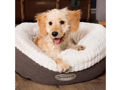 Warme Hondenmand Donut van Lamswol - Scruffs - Grijs of Bruin in maat M of L