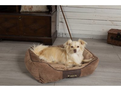 Hondenmand Zacht en Stevig, Anti-Slip en Wasbaar - Scruffs Chester Box -in Grijs en Bruin in maat S tot XL
