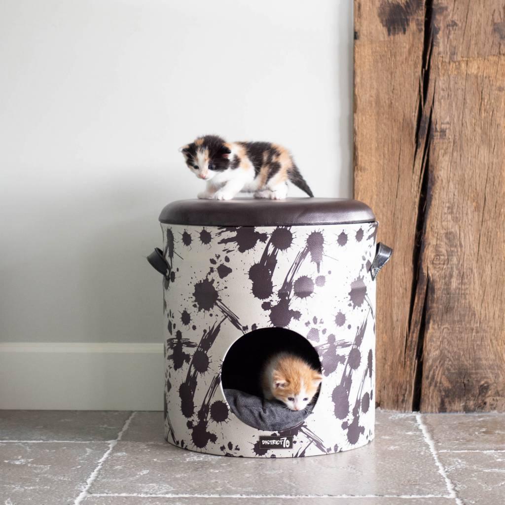 Lederlook Kattenhuis Bucket
