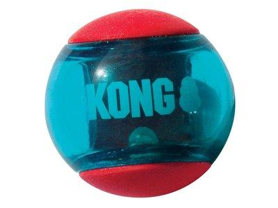 Stuiterbal met Pieper van Extra Sterk Rubber - Gemakkelijk Schoon te maken - Kong Squeezz Action in S/M/L