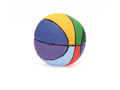 Regenboog speelgoedbal met zachte pieper- Lanco - 10 cm