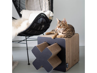 Krabmeubel voor Katten - 2 in 1 - District 70 TREASURE Large - Zwart & Wit 38x38x38cm