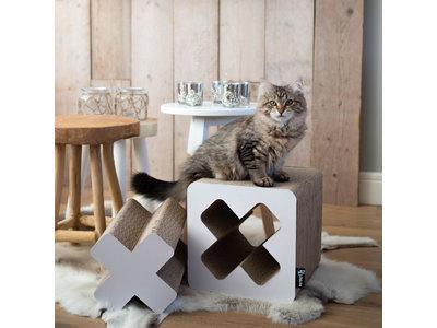 Krabmeubel voor Katten - 2 in 1 - District 70 TREASURE Small - Zwart & Wit 28x28x28cm