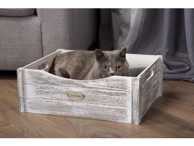 Kattenmand Comfortabel kistje met wasbaar kussen - Scruffs Rustic - Grijs of Créme 45x38cm