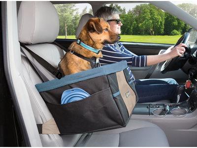 Verhoogde autostoel met eenvoudige bevestiging voor kleine honden tot 13kg - Kurgo Rover -  Zwart/Blauw 30x40x20cm