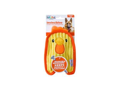 Stevige knuffel voor kleine honden met Speciale Onverwoestbare Pieper  - Outward Hound Invincibles - Chicky Geel / Penguin Blauw of Puppy Bruin