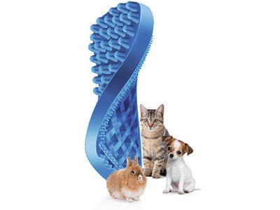 Multifunctionele kattenborstel voor borstelen, massage of haar verwijderen - Pet+Me - Korthaar - Blauw of Langhaar - Groen