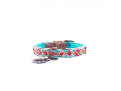 Leren Hondenhalsband -  Prachtige turquoise kralenhalsband met oranje accenten - Dog with a Mission Paddy Lee - XXS tot XXL