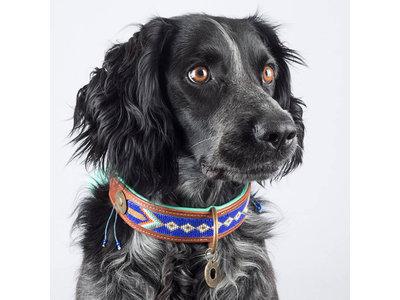 Prachtige kobalt blauwe hondenhalsband met kralen - Dog with a Mission Stella Blue - van XXS tot XXL