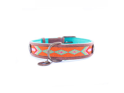 Leren hondenhalsband met kraalpatroon - Dog with a Mission Tiger Lilly - in XXS tot XXL