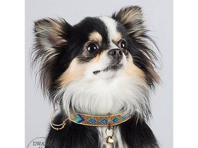 Leren Halsband voor Honden met Goud en Turquouise kralen - Dog With A Mission Indi Moon - XXS tot XXL