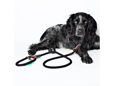 Riem & Halsband - Dog with a Mission Long John Black - Zwart, Hoogwaardig leer & messing