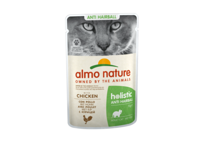 Natvoer voor Katten met Anti-Haarbal formule - Almo Nature - Holistic Anti-Hairball Pouch - 30 x 70g