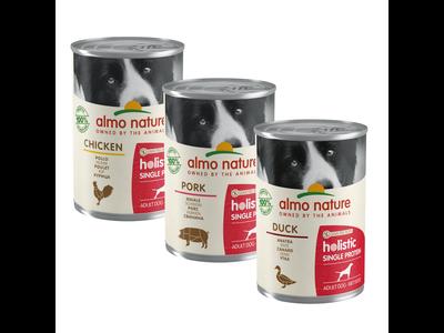 Natvoer voor Honden in 5 heerlijke smaken - Almo Nature - Holistic Single Protein - 24 x 400g
