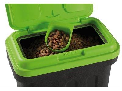 Handige Voedselcontainer Zwart/G/roen met bijgeleverd Schepje - Maelson Dry Box - Bewaarbox  in 4 maten van 7,5 kg tot 20 kg