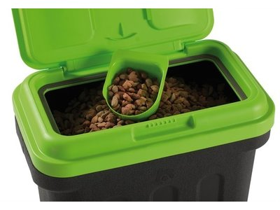 Handige Voedselcontainer Zwart/Groen met bijgeleverd Schepje - Maelson Dry Box - Bewaarbox  in 4 maten van 7,5 kg tot 20 kg