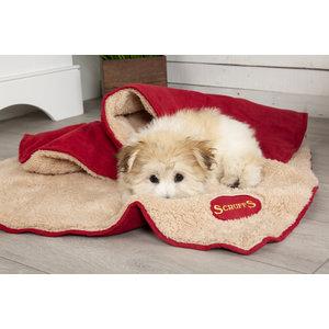 Scruffs Heerlijk zachte hondendeken 110x75cm - Tweezijdig te gebruiken met luxe pluche vacht - Scruffs Snuggle Blanket - in Rood, Blauw, Bruin of Beige