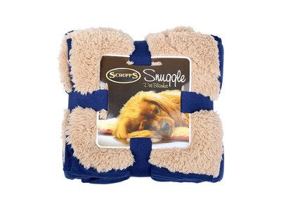 Heerlijk zachte hondendeken 110x75cm - Tweezijdig te gebruiken met luxe pluche vacht - Scruffs Snuggle Blanket - in Rood, Blauw, Bruin of Beige