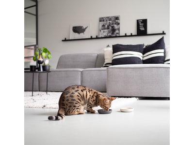 Design Bamboe Voerbak voor Katten - District 70 - Merengue, Ice Blauw en Donkergrijs
