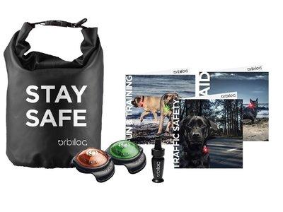 Orbiloc Stay Safe Kit met Dog Dual Safety Light - Dry Bag en veiligheidgidsen - Small of Large
