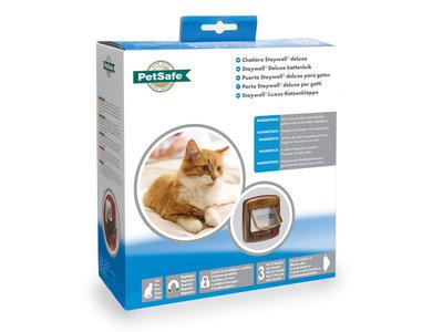Staywell® Deluxe Magnetisch kattenluik met magnetische hanger voor kat en 4-standenvergrendeling in Bruin en Wit