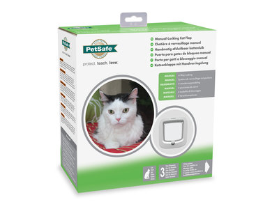 PetSafe® Manual Locking Cat Flap met 4-standen in wit of bruin